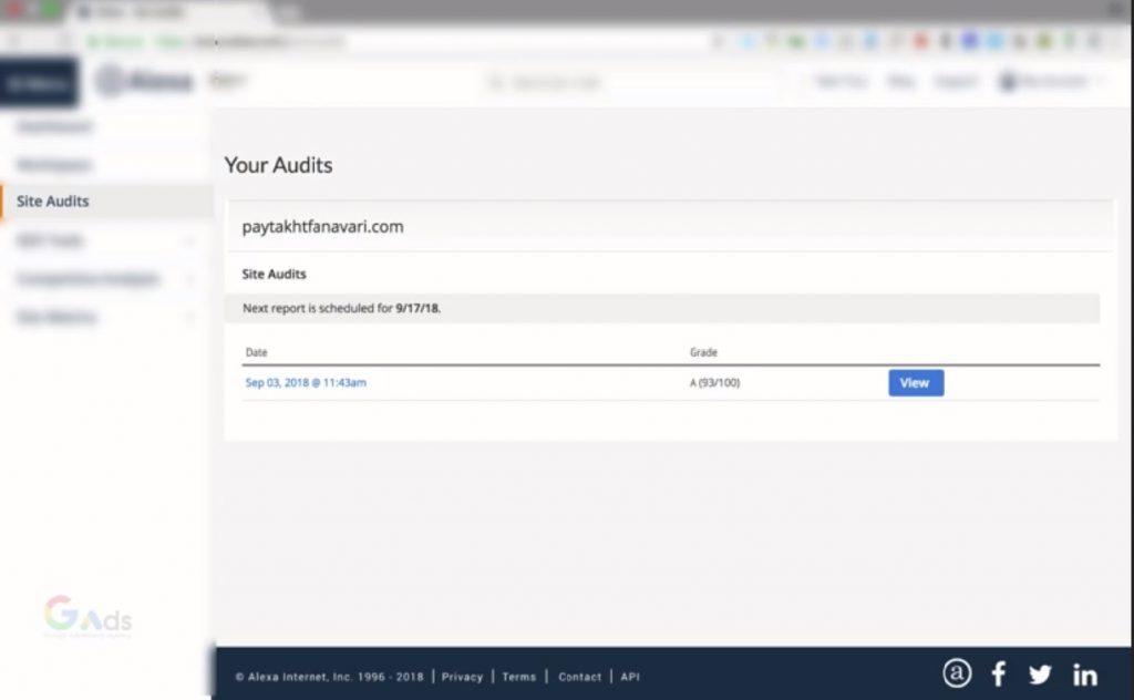بررسی گزینه  site Audits